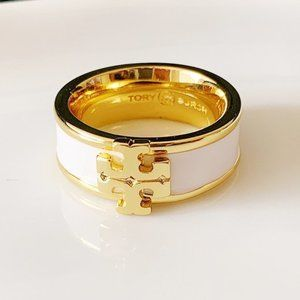 Tory Burch White Glaze Logo Ring